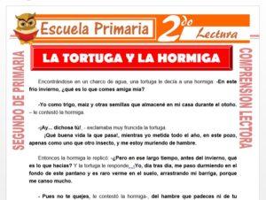 Modelo de la Ficha de La Tortuga y La Hormiga para Segundo de Primaria