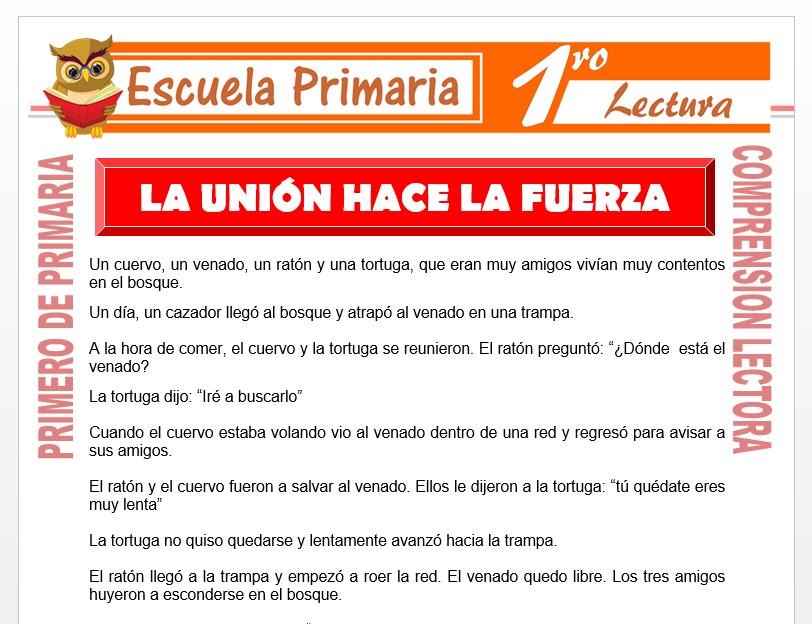 Modelo de la Ficha de La Unión Hace La Fuerza para Primero de Primaria