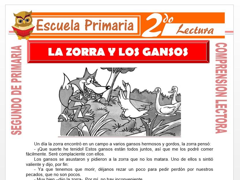 Modelo de la Ficha de La Zorra y los Gansos para Segundo de Primaria