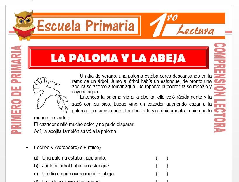 Modelo de la Ficha de La Paloma y La Abeja para Primero de Primaria