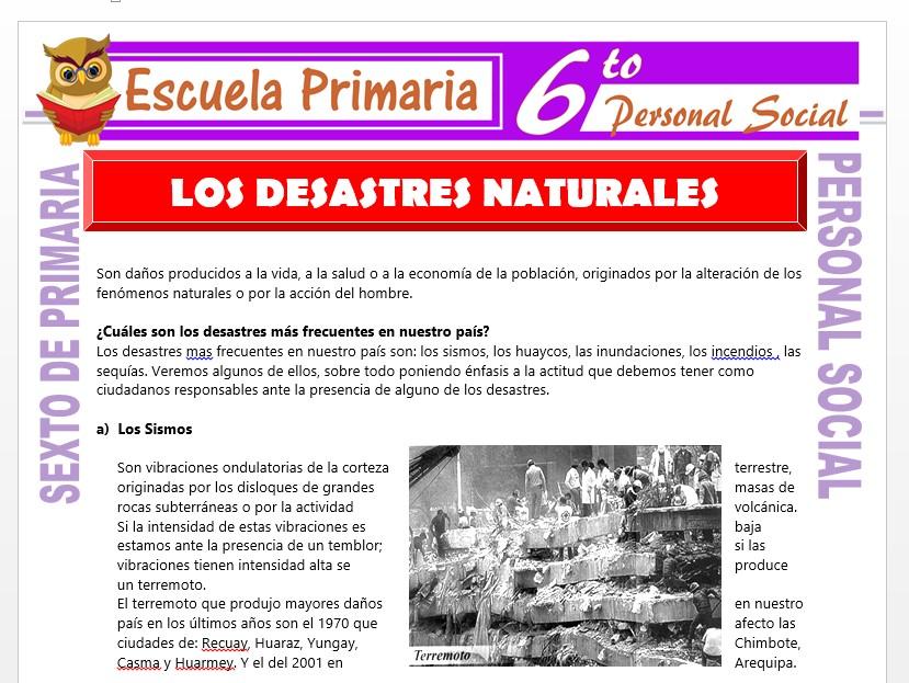 Modelo de la Ficha de Los Desastres Naturales para Sexto de Primaria