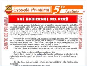 Modelo de la Ficha de Los Gobiernos del Perú para Quinto de Primaria