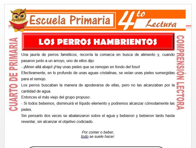 Modelo de la Ficha de Los Perros Hambrientos para Cuarto de Primaria