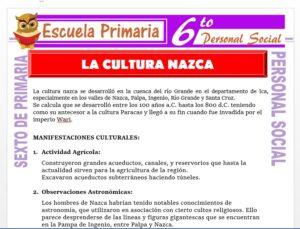 Modelo de la Ficha de Nazca y su Cultura para Sexto de Primaria