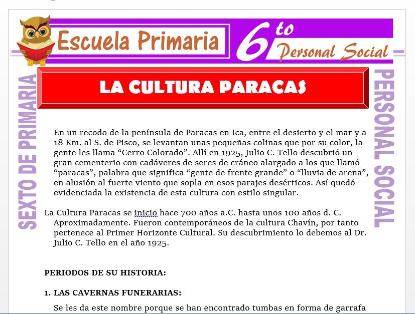 Modelo de la Ficha de Paracas y su Cultura    para Sexto de Primaria