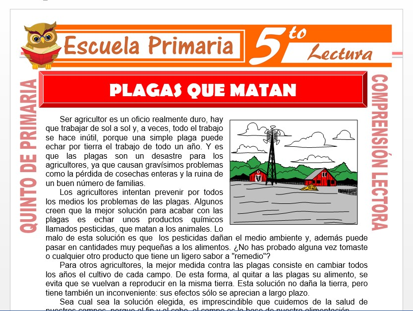 Modelo de la Ficha de Plagas Que Matan para Quinto de Primaria