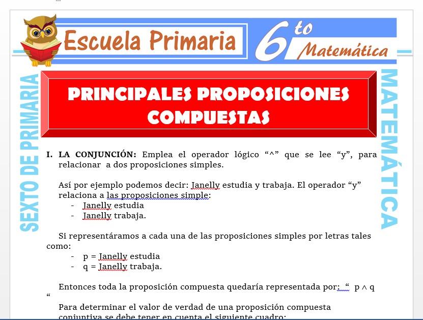 Modelo de la Ficha de Principales Proposiciones Compuestas para Sexto de Primaria