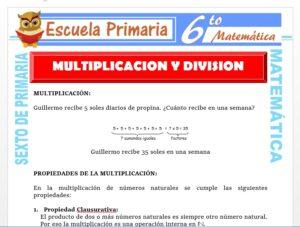 Modelo de la Ficha de Propiedades de La Multiplicación y División para Sexto de Primaria