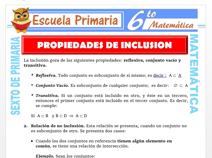 Modelo de la Ficha de Propiedades de la Inclusión para Sexto de Primaria