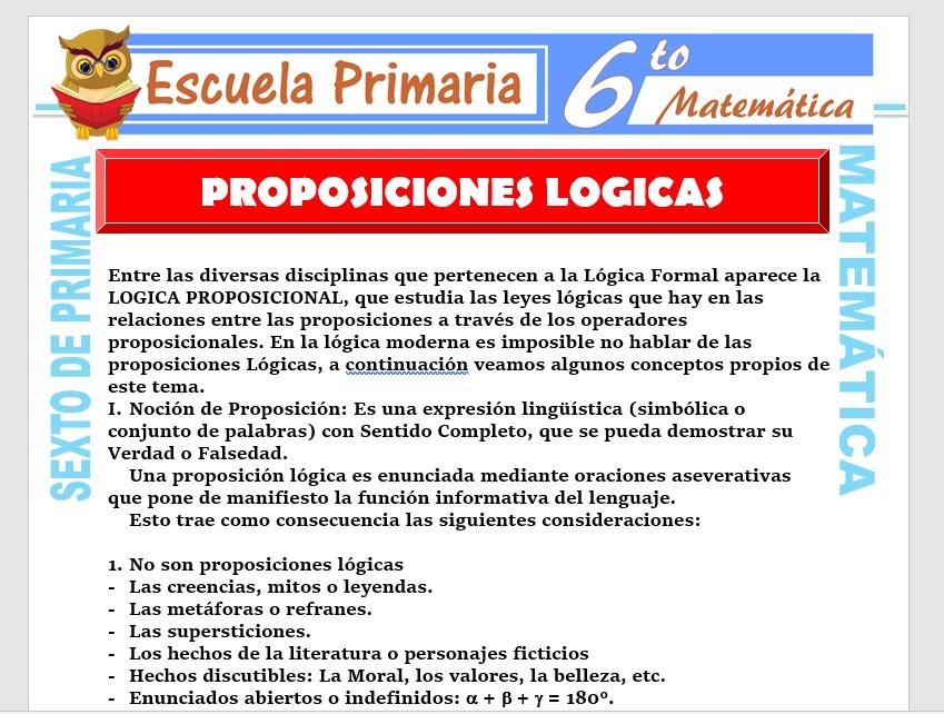 Modelo de la Ficha de Proposiciones Lógicas para Sexto de Primaria
