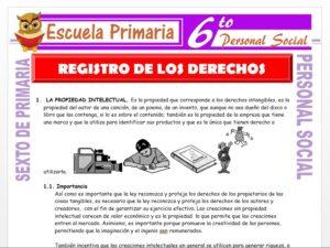 Modelo de la Ficha de Registro de los Derechos para Sexto de Primaria