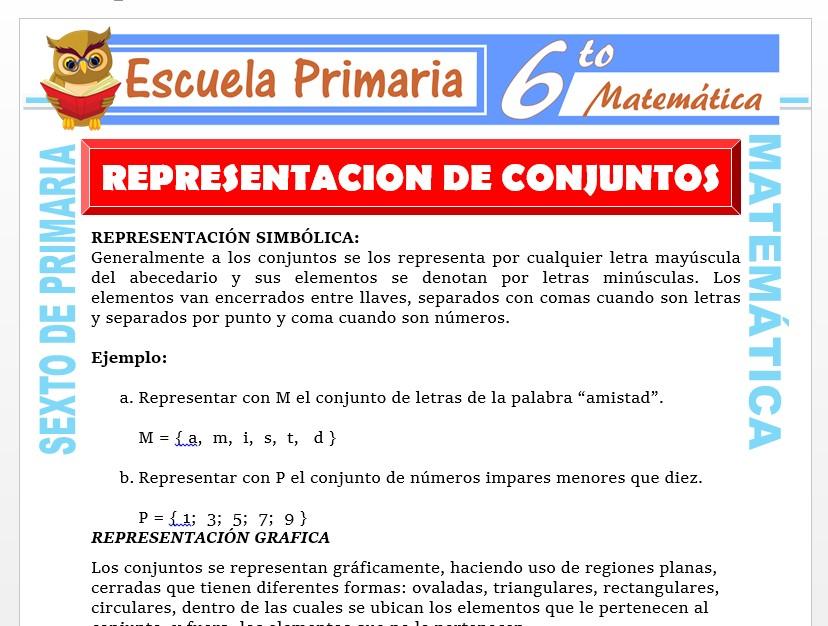 Modelo de la Ficha de Representación Simbólica y Gráfica de los Conjuntos para Sexto de Primaria