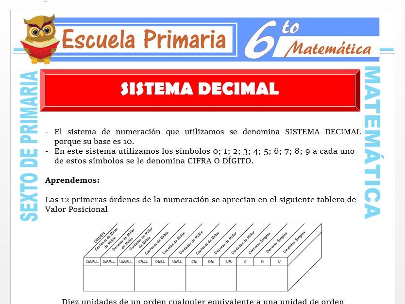 Modelo de la Ficha de Sistema Decimal para Sexto de Primaria