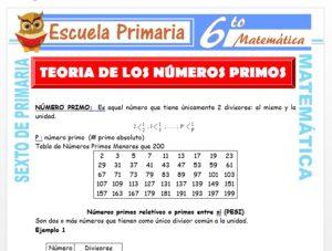 Modelo de la Ficha de Teoría de Los Números Primos para Sexto de Primaria
