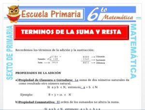 Modelo de la Ficha de Términos de la Suma y la Resta para Sexto de Primaria