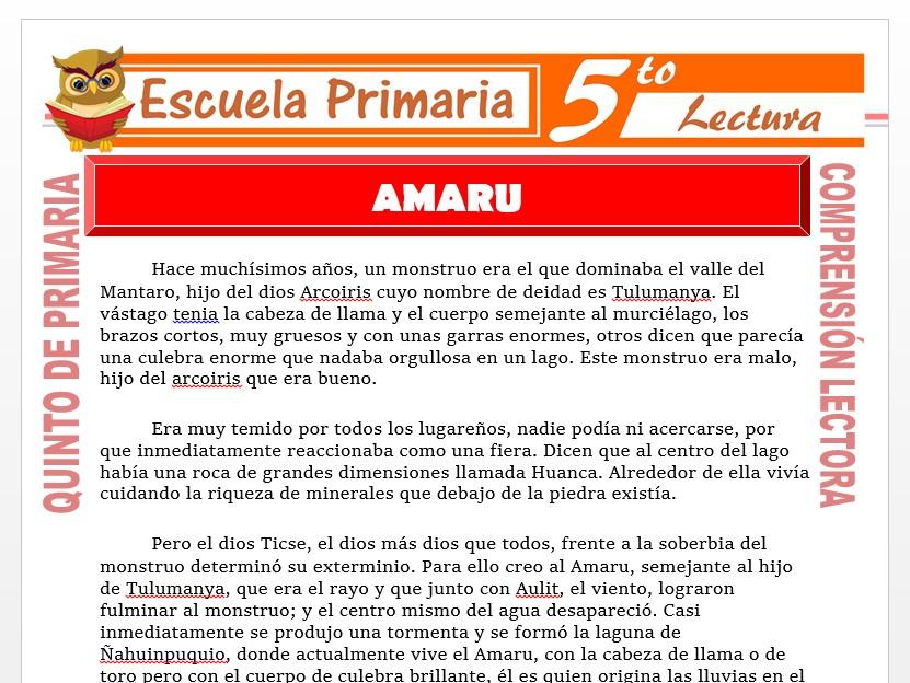 Modelo de la Ficha de Amaru para Quinto de Primaria