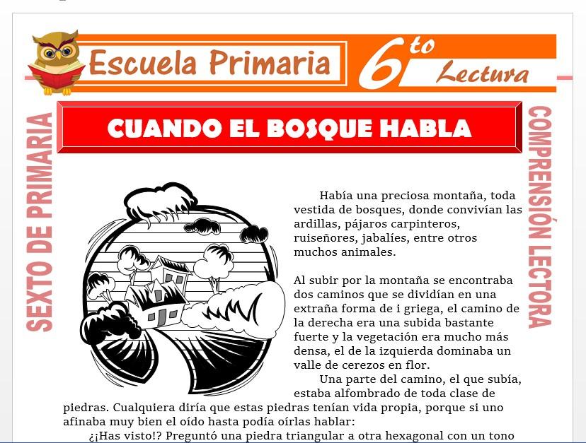 Modelo de la Ficha de Cuando el Bosque Habla para Sexto de Primaria