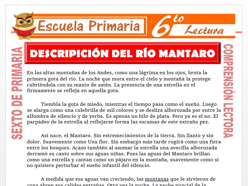 Modelo de la Ficha de Descripción Lirica Biografica del Rio Mantaro para Sexto de Primaria