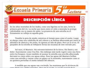 Modelo de la Ficha de Descripcion Lirica Biografica del Rio Mantaro para Quinto de Primaria