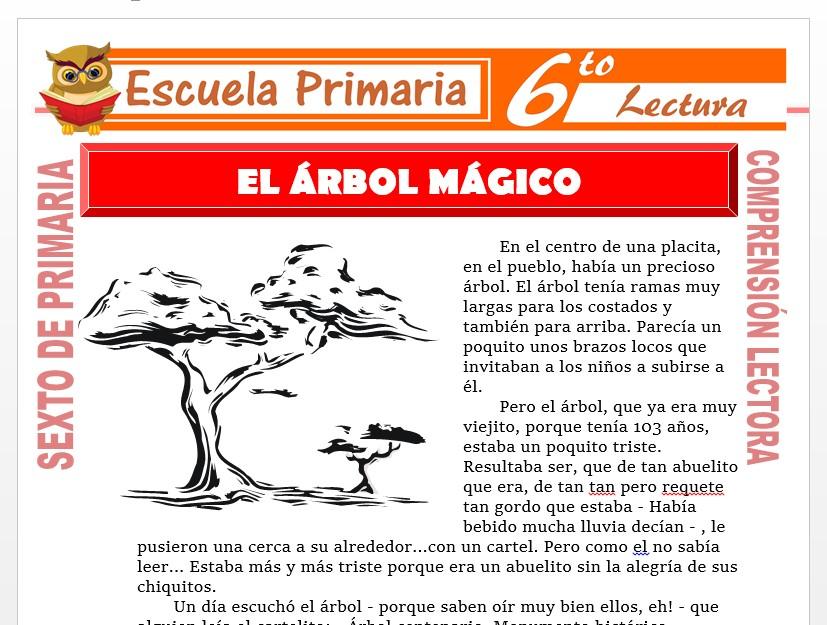 Modelo de la Ficha de El Arbol Mágico para Sexto de Primaria