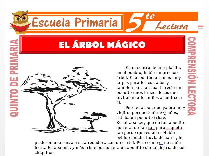 Modelo de la Ficha de El Árbol Mágico para Quinto de Primaria