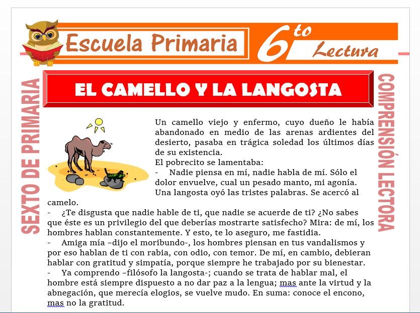 Modelo de la Ficha de El Camello y la Langosta para Sexto de Primaria