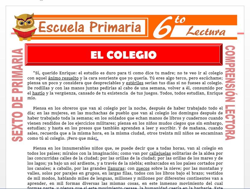 Modelo de la Ficha de El Colegio para Sexto de Primaria