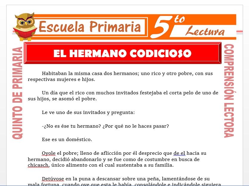 Modelo de la Ficha de El Hermano Codicioso para Quinto de Primaria