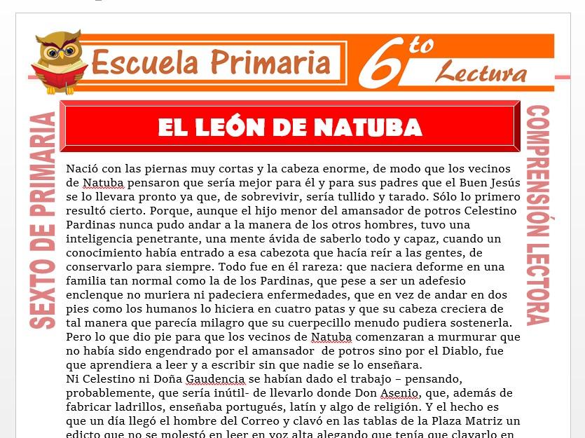 Modelo de la Ficha de El León de Natuba para Sexto de Primaria