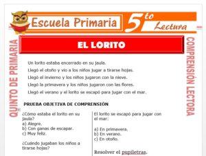Modelo de la Ficha de El Lorito para Quinto de Primaria