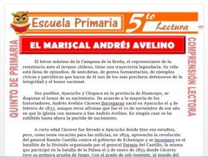 Modelo de la Ficha de El Mariscal Don Andres Avelino Cáceres para Quinto de Primaria