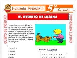 Modelo de la Ficha de El Perrito De Susana para Quinto de Primaria