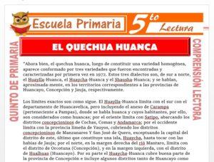 Modelo de la Ficha de El Quechua Huanca para Quinto de Primaria