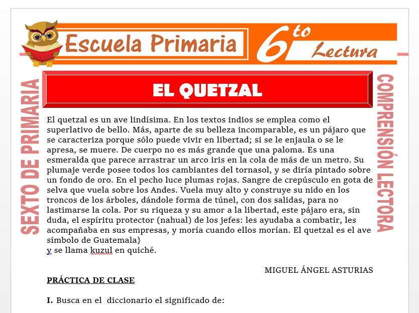 Modelo de la Ficha de El Quetzal para Sexto de Primaria