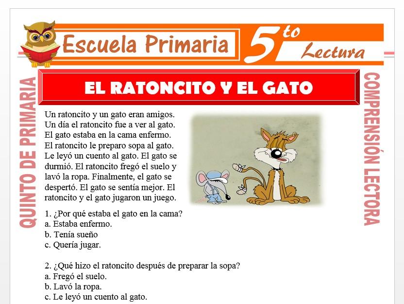 Modelo de la Ficha de El Ratoncito y El Gato para Quinto de Primaria