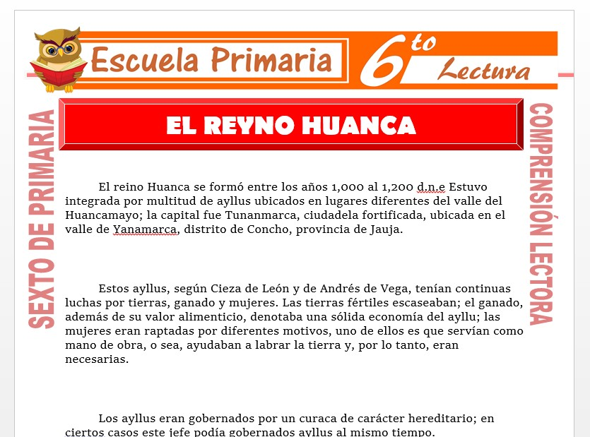 Modelo de la Ficha de El Reino Huanca para Sexto de Primaria