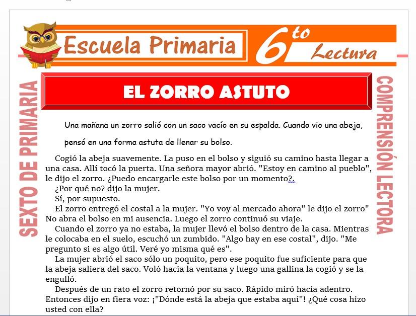Modelo de la Ficha de El Zorro Astuto para Sexto de Primaria