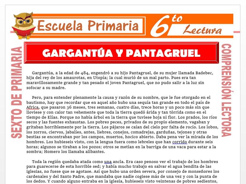 Modelo de la Ficha de Gargantua y Pantagruel para Sexto de Primaria
