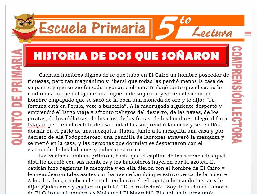 Modelo de la Ficha de Historia de Dos Que Soñaron para Quinto de Primaria
