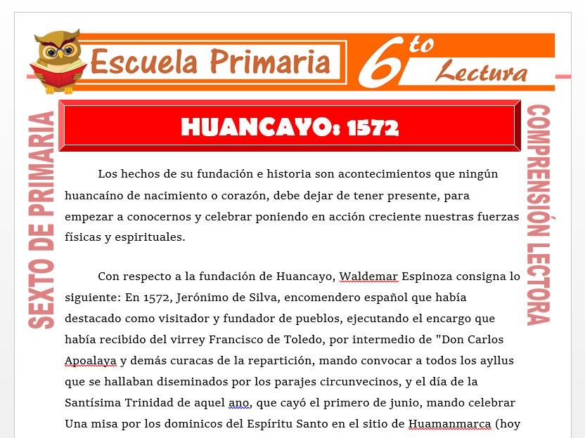 Modelo de la Ficha de Huancayo 1572 para Sexto de Primaria