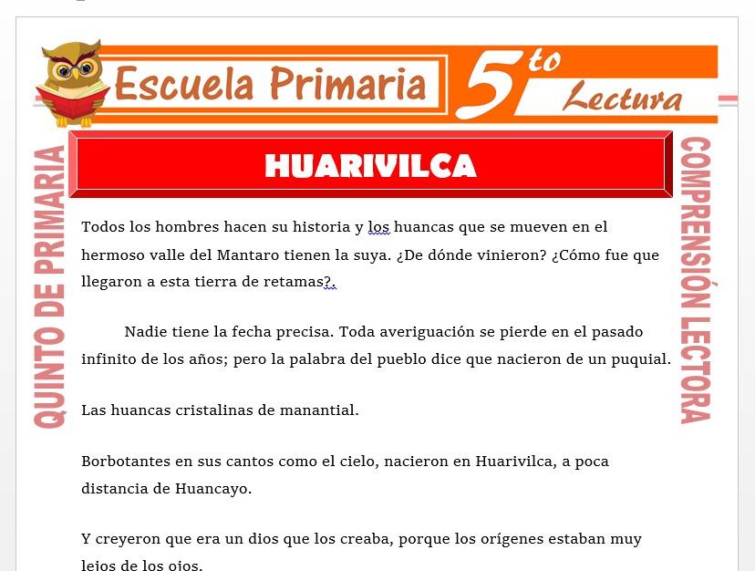 Modelo de la Ficha de Huarivilca para Quinto de Primaria