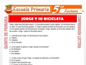 Modelo de la Ficha de Jorge y Su Bicicleta para Quinto de Primaria