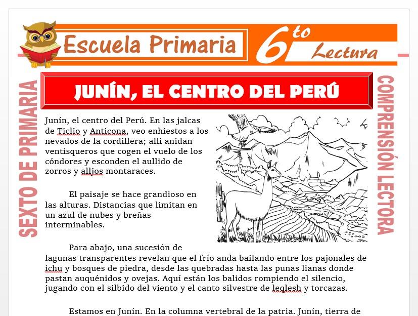 Modelo de la Ficha de Junín, el Centro del Perú para Sexto de Primaria