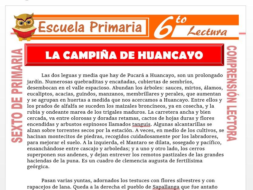 Modelo de la Ficha de La Campiña de Huancayo para Sexto de Primaria
