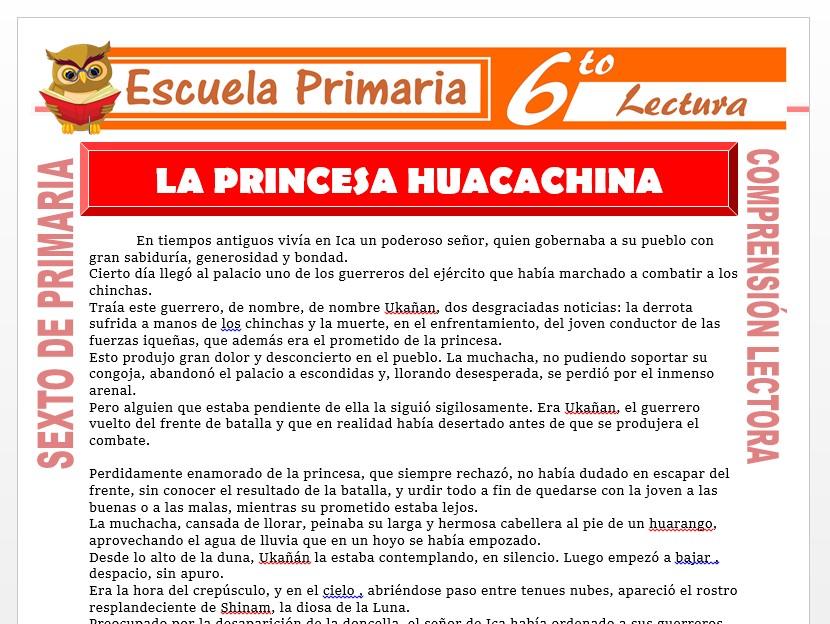 Modelo de la Ficha de La Princesa Huacachina para Sexto de Primaria