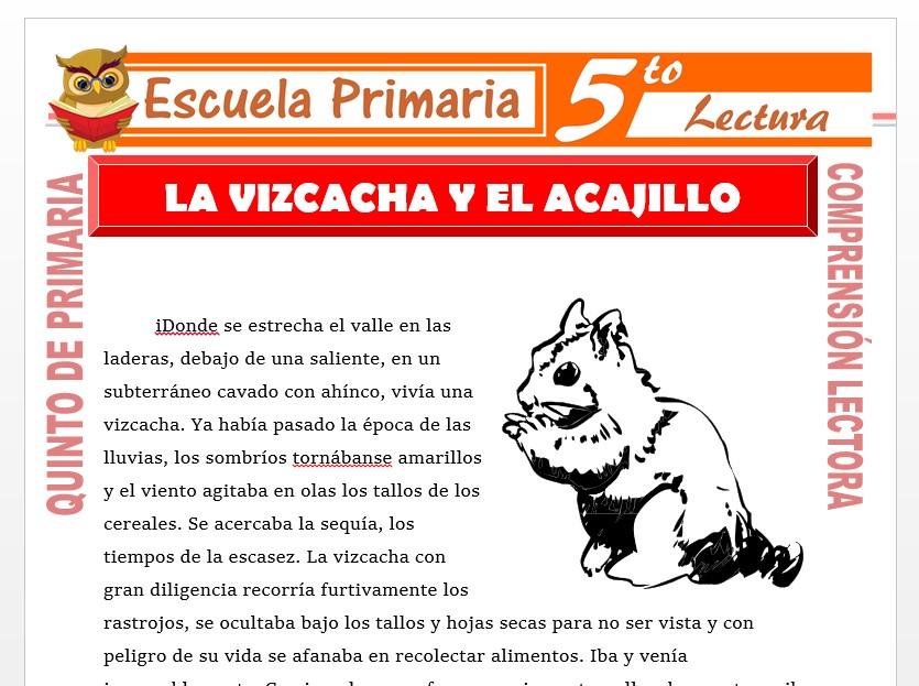 Modelo de la Ficha de La Vizcacha y el Acajillo para Quinto de Primaria