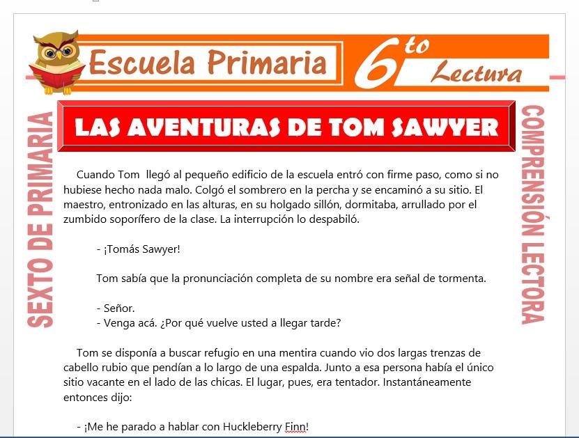 Modelo de la Ficha de Las Aventuras de Tom Sawyer para Sexto de Primaria