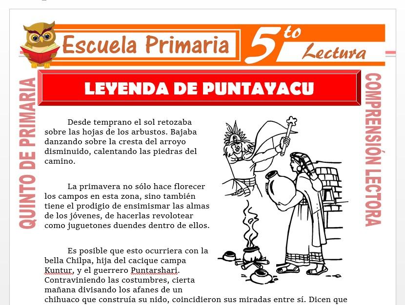 Modelo de la Ficha de Leyenda de Puntayacu y Chilpes para Quinto de Primaria