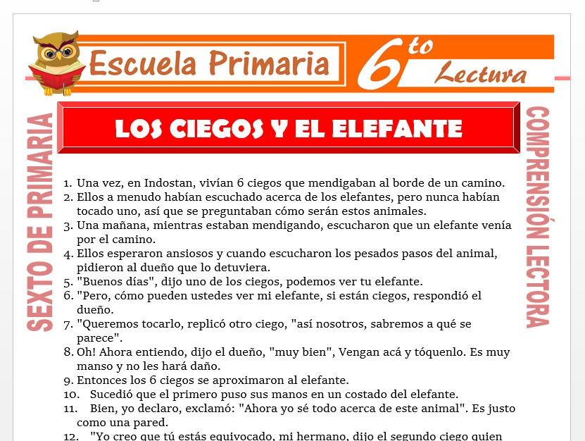Modelo de la Ficha de Los Ciegos y el Elefante para Sexto de Primaria