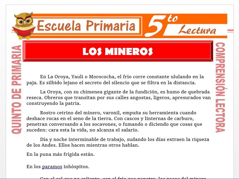 Modelo de la Ficha de Los Mineros para Quinto de Primaria